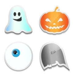 Set of halloween stickers pumpkin ghost eye r vector