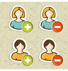 Social media user people icons set vector image vector image