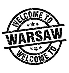 welcome to warsaw black stamp vector image vector image