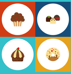 flat cake set of muffin cupcake cake and other vector image