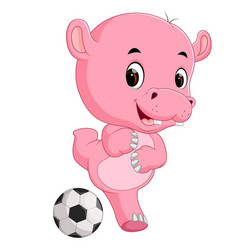 funny hippo cartoon with ball vector image vector image