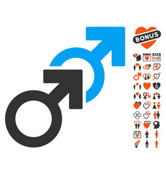 gay sex icon with dating bonus vector image