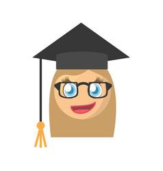 Graduate female emoticon cartoon design vector