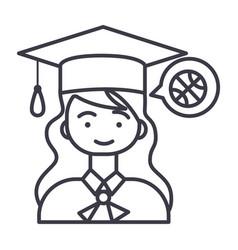 graduation girl line icon sign vector image vector image