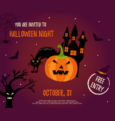 halloween background withhouse pumpkin and bats vector image vector image