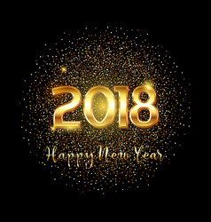 happy new year gold text background vector image vector image