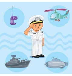 Little boy seaman with a warship submarine and vector