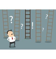 Businessman choosing ladder to success vector