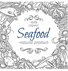 frame template hand drawn seafood vector image vector image