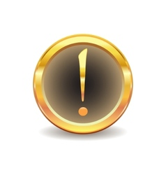 gold button with exclamation sign vector image vector image
