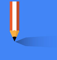 pencil with shadow on blue vector image vector image