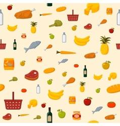 Supermarket food items seamless background vector image