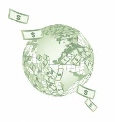 world map globe with dollars vector image