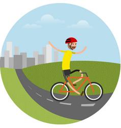 biker riding bicycle vector image