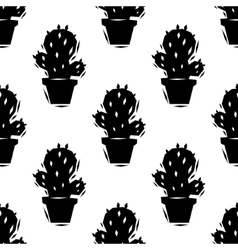 Black and white cactus seamless pattern vector image