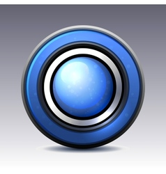 Blue shiny button with metallic elements vector image