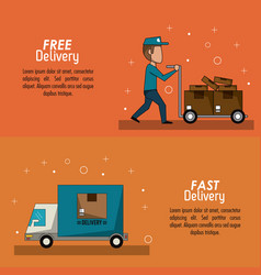color poster banner scene fast delivery man with vector image