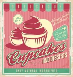 Cupcakes vintage poster design vector