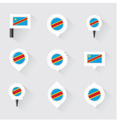 democratic republic of the congo flag and pins vector image vector image
