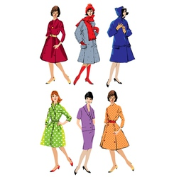 Set of elegant women - retro style fashion models vector image