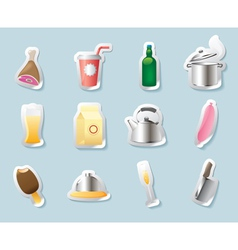 Sticker icons for food and drinks vector image vector image