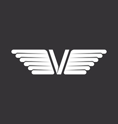 V - letter with wings black and white background vector image