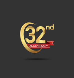 32 years anniversary logo style with swoosh ring vector