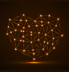 abstract neon geometric heart of lines and dot vector image