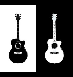 acoustic guitar in black and white vector image