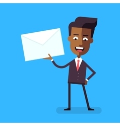 African american businessman holding a letter vector