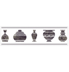 Ancient vase with greek ornament vector
