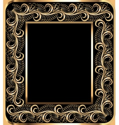 Background frame with vegetable golden ornament vector