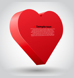 Big red 3d heart on white background vector