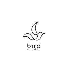 bird logo line outline monoline art icon vector image