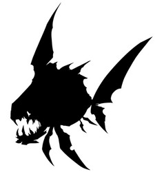Black graphic silhouette monster fish with teeth vector