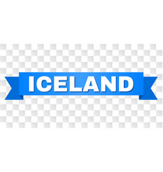 Blue ribbon with iceland text vector