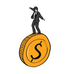 businessman standing on big golden coin vector image