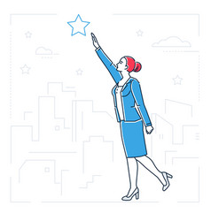 Businesswoman reaching out the star - line design vector