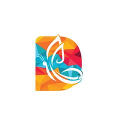 Butterfly letter d logo design vector