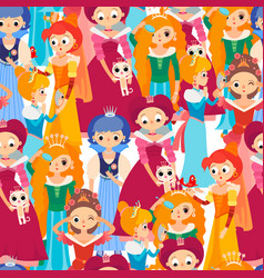 cartoon baby princesses seamless pattern vector image