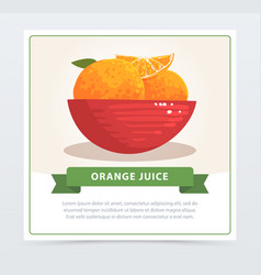 cartoon card of juicy tropical oranges in red bowl vector image