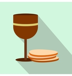 Chalice of wine and wafers flat icon vector image