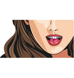 cheerful young woman mouth lips makeup image vector image
