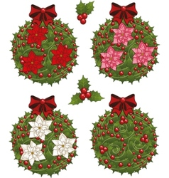Clip art set of Christmas mistletoe decorative vector