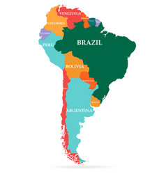 colorful map south america continent vector image