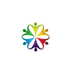 colorful people group team logo vector image