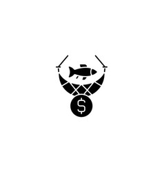 Commercial fishing black glyph icon vector