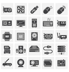 Computer hardware icons set on background for vector