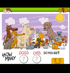 counting dogs and cats activity game vector image vector image