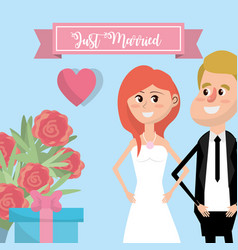 Couple married with flowers and ribbon design vector